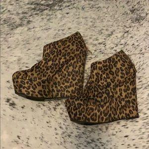 Cheetah print high heel booties wedges